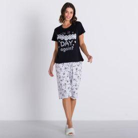 Pijama Sleep More Com Capri Holla Preto