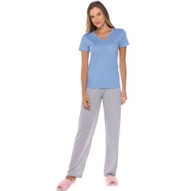 Pijama Smooth Holla Azul/Mescla