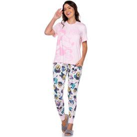 Pijama Viscose Estampado Minnie Disney Rosa/Estampado