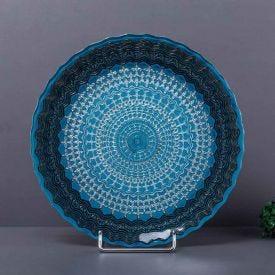 Prato de Bolo Color 33cm Solecasa - Azul e Preto