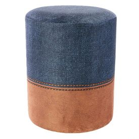 Puff Estampado Veludo Redondo - Jeans Couro