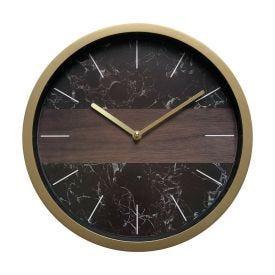 Relógio De Parede Indonésia 30,5X4,5Cm Solecasa - Marrom Marmorizado
