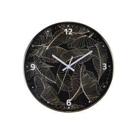 Relógio De Parede Redondo De Folhas 30,5X4,3Cm Solecasa - Preto
