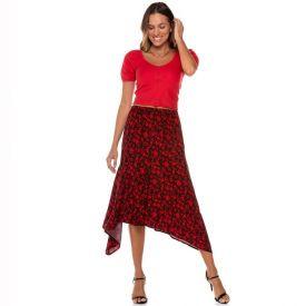 Saia Assimétrica Viscose Estampada Patrícia Foster Floral Vermelho