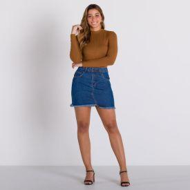 Saia Jeans com Barra Desfiada Patricia Foster Azul Medio