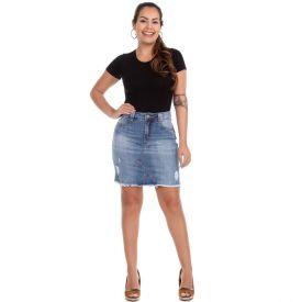 Saia Jeans com Barra Desfiada Sawary Blue