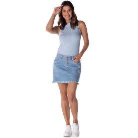 Saia Jeans com Botões e Bigode 3D Patrícia Foster Light Blue