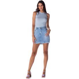 Saia Jeans com Puídos e Bolsos Patrícia Foster  Light Blue