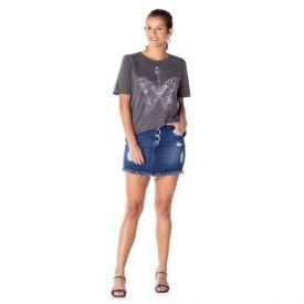 Saia Jeans com Puídos Patrícia Foster Azul Escuro