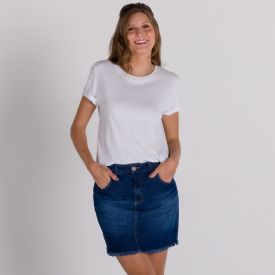 Saia Jeans Curta Barra Desfiada Patrícia Foster Azul Medio