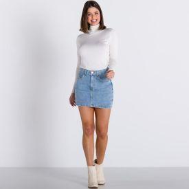 Saia Jeans Curta com Strass Zune By Sabrina Sato Azul Claro