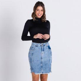Saia Jeans Destroyed Patrícia Foster Azul Medio
