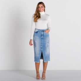 Saia Jeans Midi com Fenda Patrícia Foster Azul Escuro