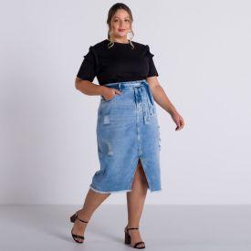 Saia Jeans Plus Size Midi com Cinto Patrícia Foster Mais Azul Escuro