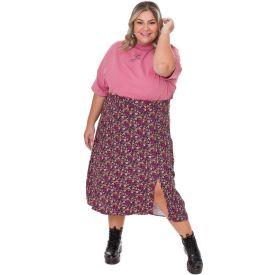 Saia Midi Plus Size Viscose com Fenda Patrícia Foster Mais Floral