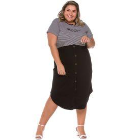 Saia Plus Size com Botões Frontais Patricia Foster Mais Preto