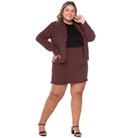 Saia Plus Size Curta de Tweed Analola Tweed