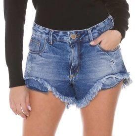 Short Jeans Barra Desfiada Assimétrica Zune By Sabrina Sato Blue