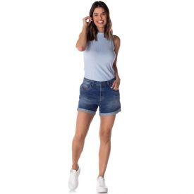 Short Jeans Boyfriend com Aplique Patrícia Foster Blue