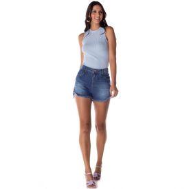 Short Jeans Boyfriend com Rebite Cristal Blue