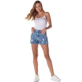 Short Jeans Boyfriend Marmorizado Patrícia Foster Blue