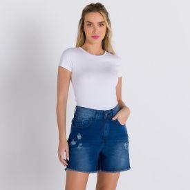Short Jeans Bycker Patrícia Foster Azul Escuro