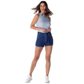 Short Jeans com Faixa e Nervura Patrícia Foster