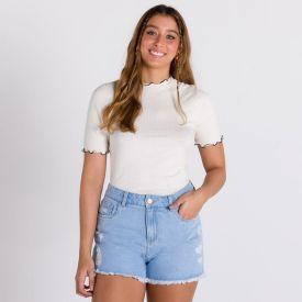 Short Jeans com Puídos Sawary Azul Medio