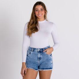 Short Jeans com Puídos Sawary Azul Escuro