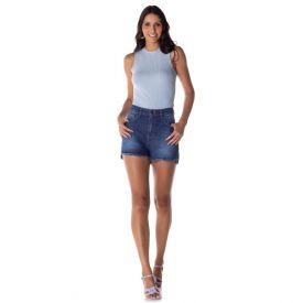Short Jeans Mom Barra Assimétrica Patrícia Foster Blue