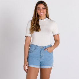 Short Jeans Mom Barra Dobrada Patrícia Foster Azul Medio