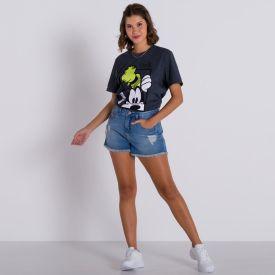 Short Jeans Mom com Rasgos Patrícia Foster Azul Claro