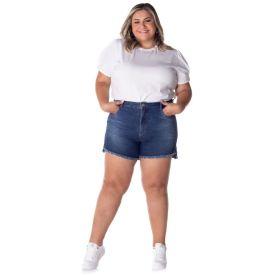 Short Jeans Mom Plus Size Patrícia Foster Mais Blue