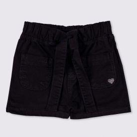 Shorts 1 a 3 anos Sarja Barra Cinto Yoyo Kids Preto