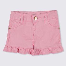 Shorts 1 a 3 anos Sarja Barra com Babados Yoyo Kids Candy Pink