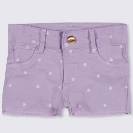 Shorts 1 a 3 anos Sarja Corações Yoyo Kids Lilas