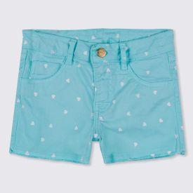 Shorts 4 a 10 anos Sarja Barra Desfiada Marmelada Blue Tint