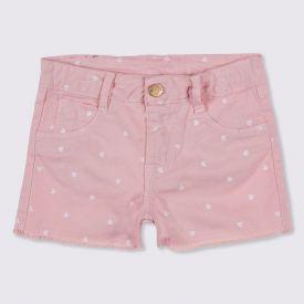 Shorts 4 a 10 anos Sarja Barra Desfiada Marmelada Creole Pink
