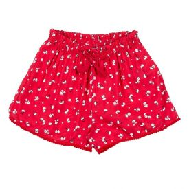 Shorts 4 a 10 Anos Tricoline Floral Marmelada Vermelho