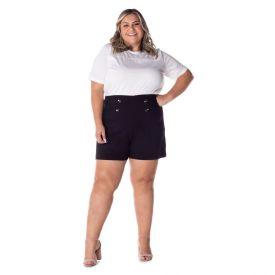 Shorts Bengaline Plus Size Patrícia Foster Preto