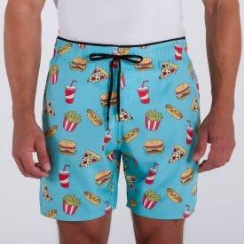Shorts com Elastano Estampado Marc Alain Fast Food