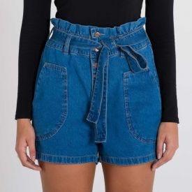 Shorts Jeans Mom Clochard Patrícia Foster Azul Claro