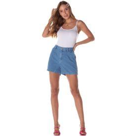 Shorts Jeans Mom com Prega + Bolso Faca Contatho Blue