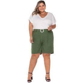 Shorts Plus Size com Cinto Fivela Patricia Foster Mais Verde