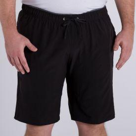 Shorts Plus Size com Elastano Liso Marc Alain Preto