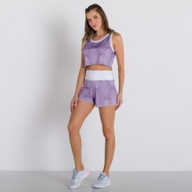 Shorts Run Dry Estampado Body Lab Lilas/Branco