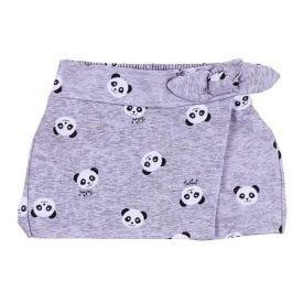 Shorts Saia 1 a 3 Anos Moletom Panda Fakini Cinza