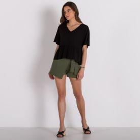 Shorts Saia Bengaline Patrícia Foster Verde