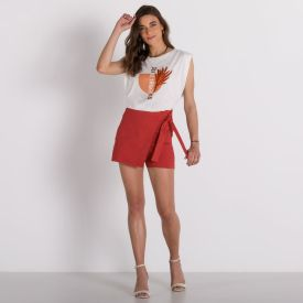 Shorts Saia Bengaline Patrícia Foster Terracota