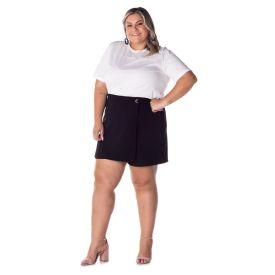 Shorts Saia com Ilhos Plus Patrícia Foster Preto